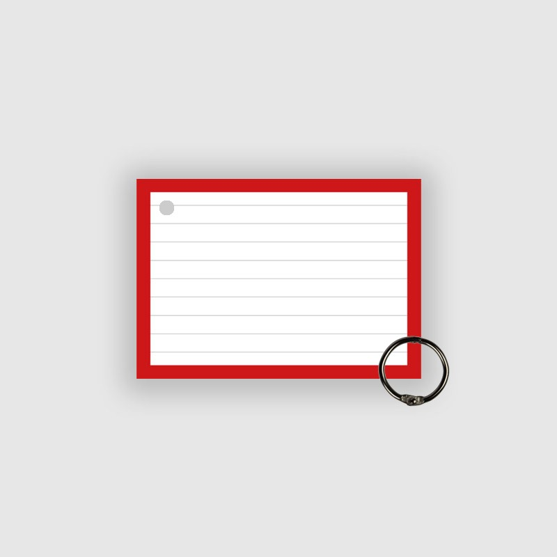 50 Flashcards A7 Rood Perforatie incl. klikring