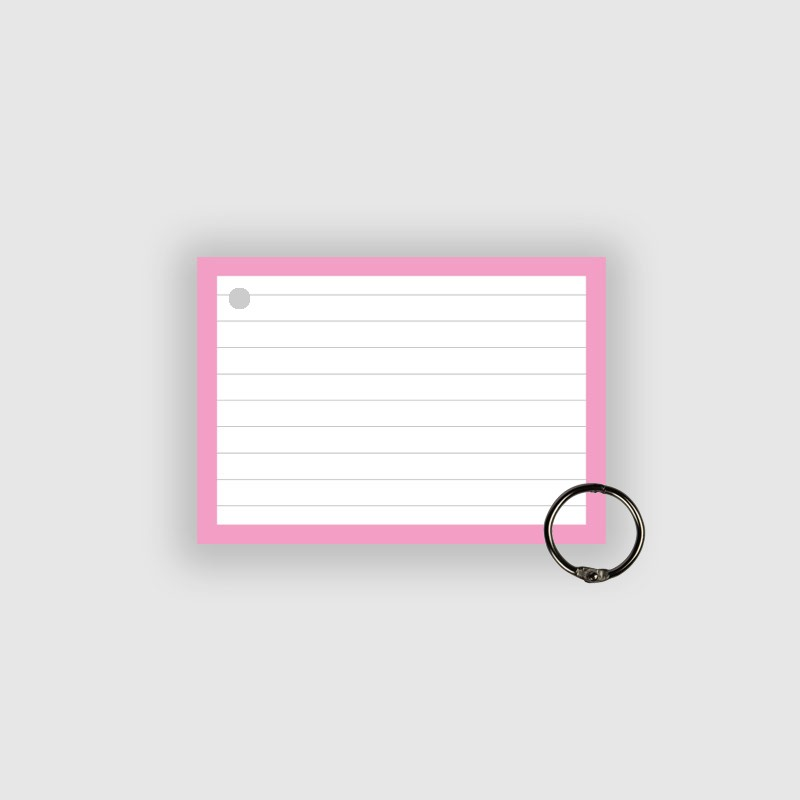 50 Flashcards A7 Roze Perforatie incl. klikring